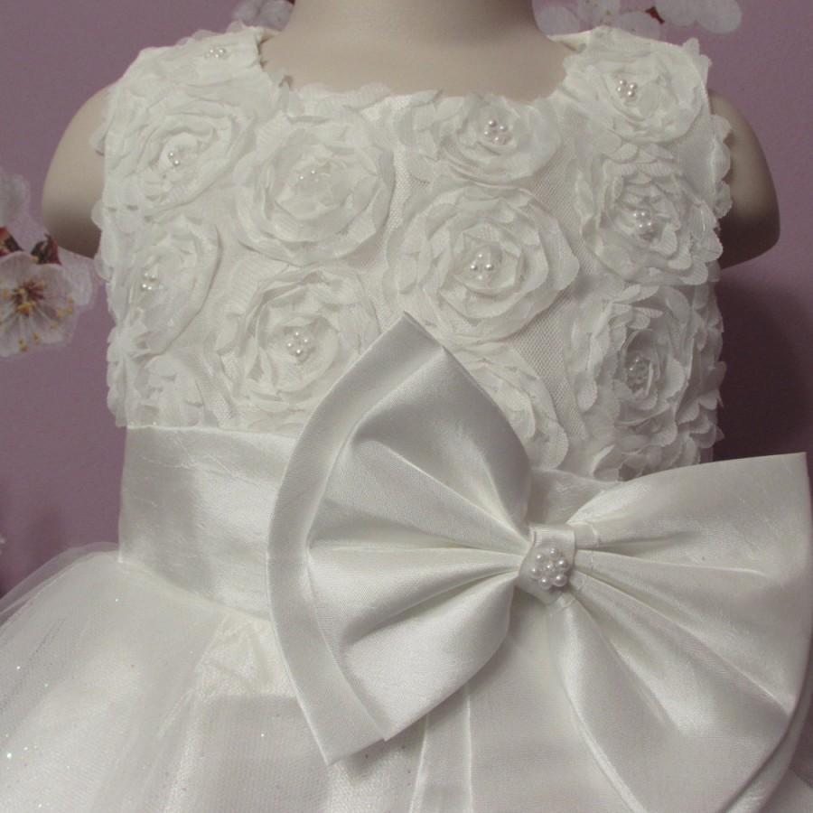 Mariage - Weddings Beautiful White/Light Ivory Colors Girls Rose Bead Flower Dress And Handband