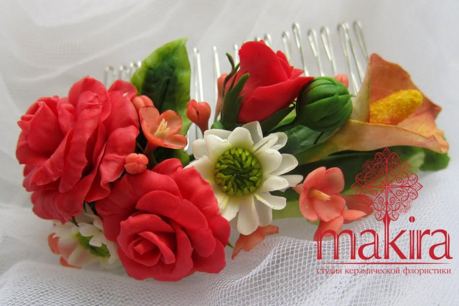 Düğün - Bridal flower comb - red roses. Autumn blossom hair comb - Wedding flower comb - Flower comb. Bridal comb. Flower hair accessory