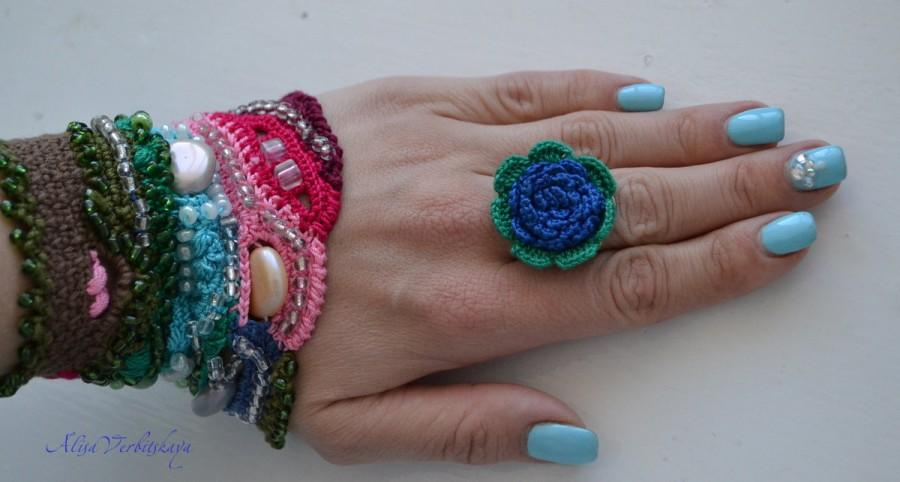 Wedding - Textile Jewelry,Crochet Ring, Scarlet Rose, Lace, Irish crochet,Red Flowers,Handmade, Wedding