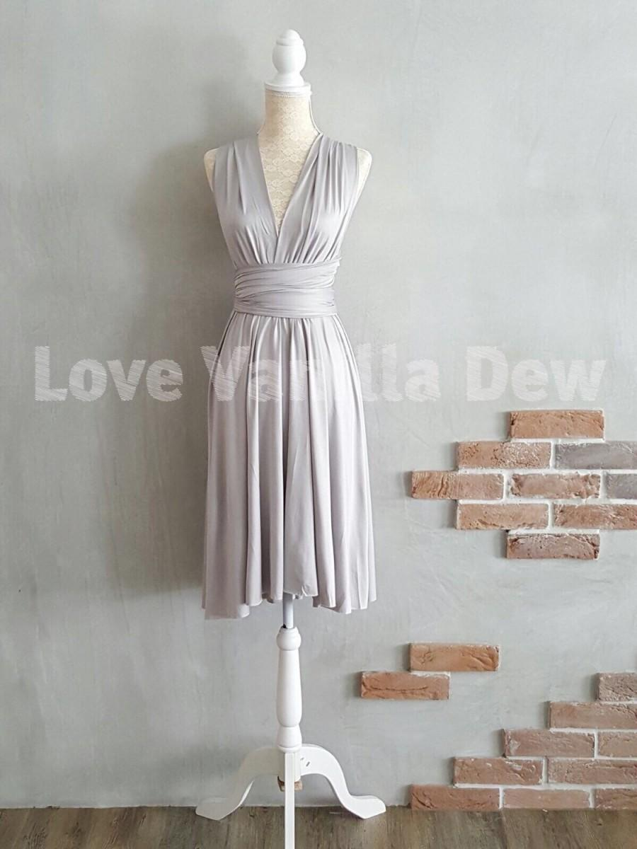 Bridesmaid dress infinity dress straight hem light grey knee bridesmaid dress infinity dress straight hem light grey knee length wrap convertible dress wedding dress ombrellifo Gallery