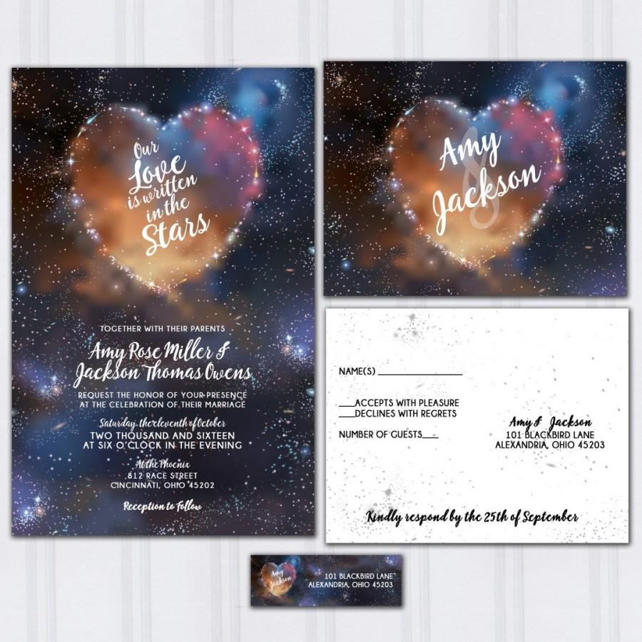 Galaxy Wedding Invitations Stars And Space Invite Set Written In