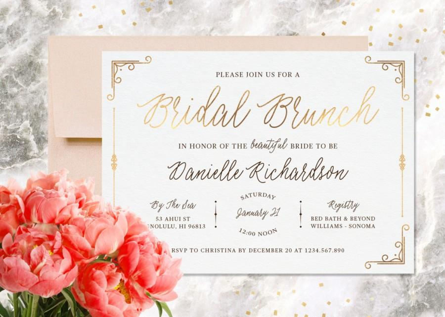 Mariage - Bridal Shower Invitation, Printable, Bridal Brunch, Wedding Shower Invitation, Modern Calligraphy, Gold Foil