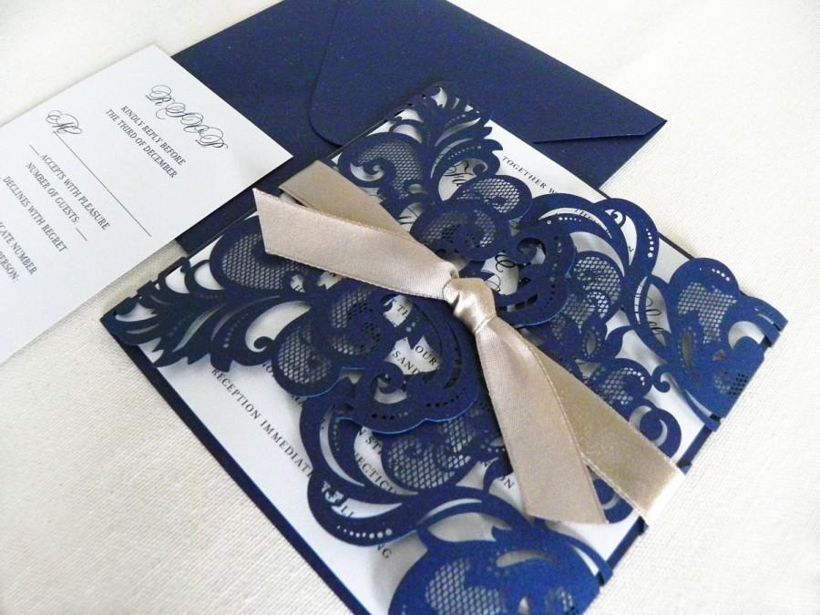 Vintage Navy Blue Lace Laser Cut Wedding Invitation Suite For Glamorous Wedding - Laser Cut Gate ...