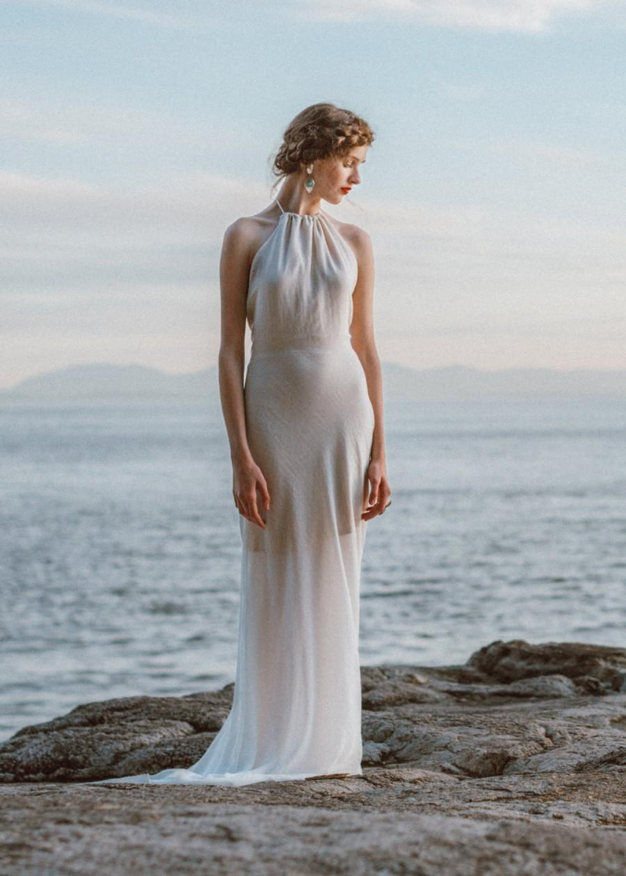 Wedding - Modern Sheath Wedding Dress.  A sophisticated backless wedding gown, featuring a high neck silhouette, low back, and fitted skirt.