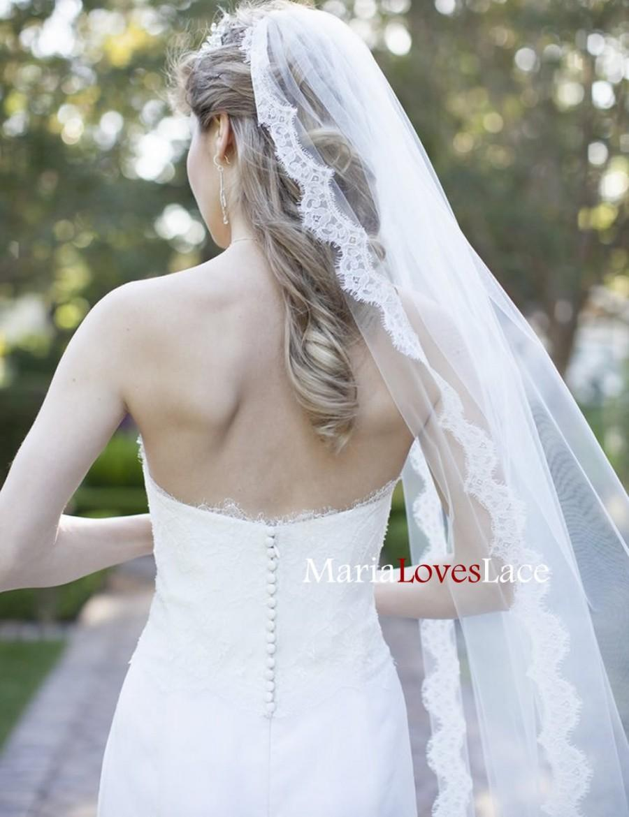 Wedding - Soft Chapel Lace Wedding Veil-Chantilly Lace Chapel Veil-1 Tier Chapel Veil with Eyelash Lace Trim-Cathedrl Lace Bridal Veil 621