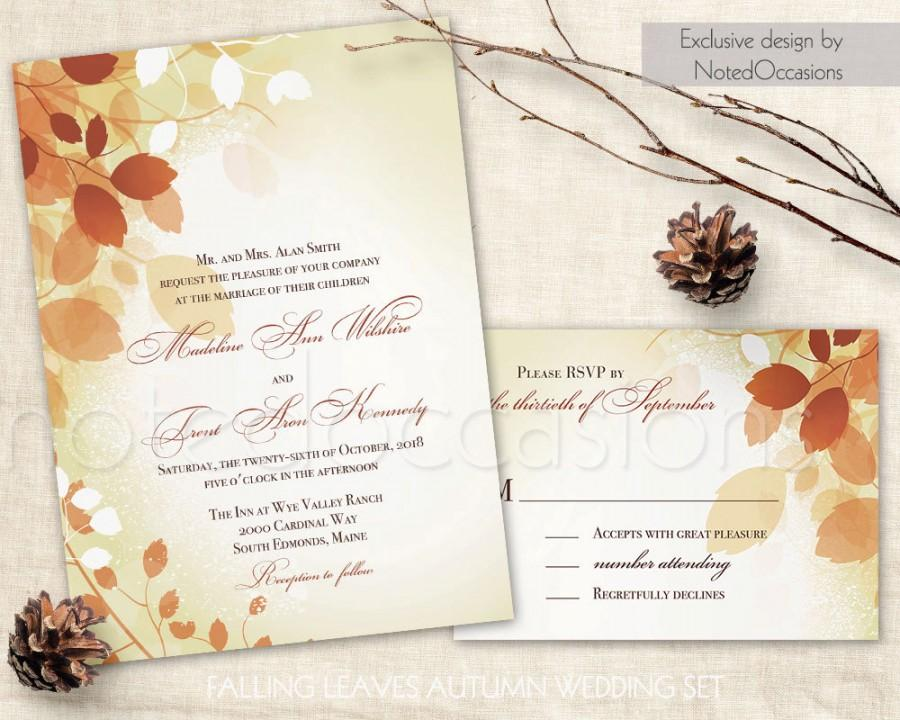 Mariage - Fall Wedding Invitations Leaves, Printable Fall Invite Rystic Fall Leaves Wedding and RSVP Set Autumn Leaves DIY Digital Printable Template