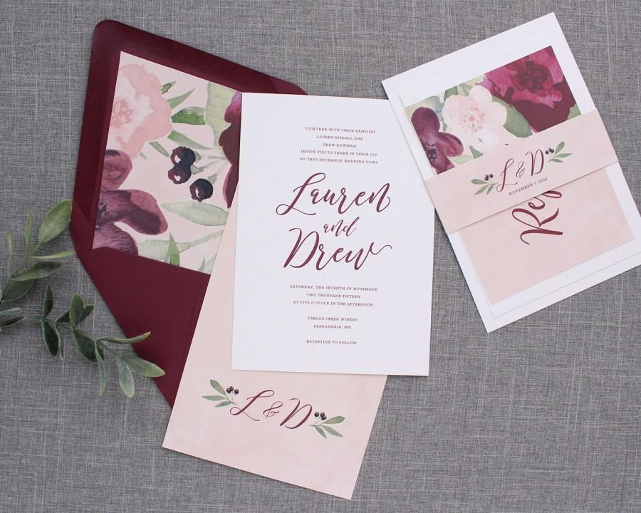 Burgundy Fl Wedding Invitation Blush Pink And Marsala