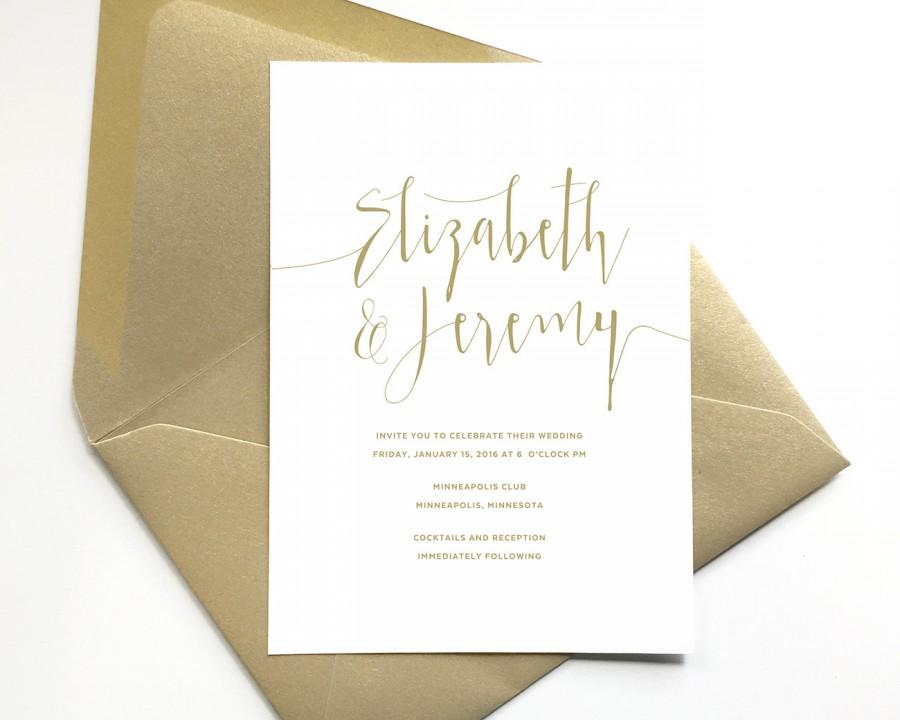 elegant gold wedding invitations script lettering formal wedding invite gold and white wedding invitation printed invitation suite - White And Gold Wedding Invitations