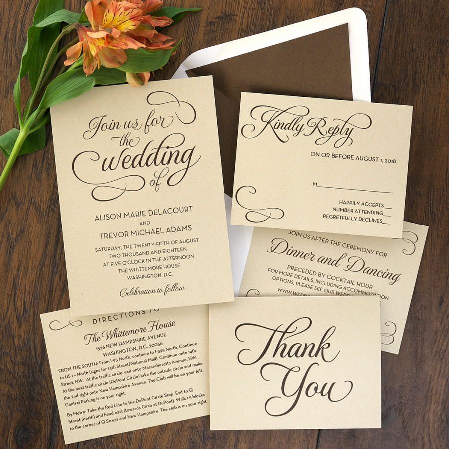 Mariage - Sweet Script Invitation Set - Thermography Wedding Invite - Classic Wedding Invite - Traditional Wedding Invitation Suite - AV6504