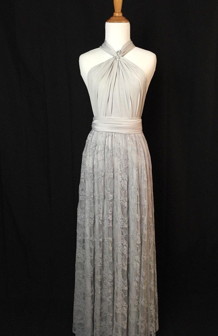Wedding - Silver grey Infinity lace Dress  ,bridesmaid dress,party dress Evening dress,Detachable lace skirt