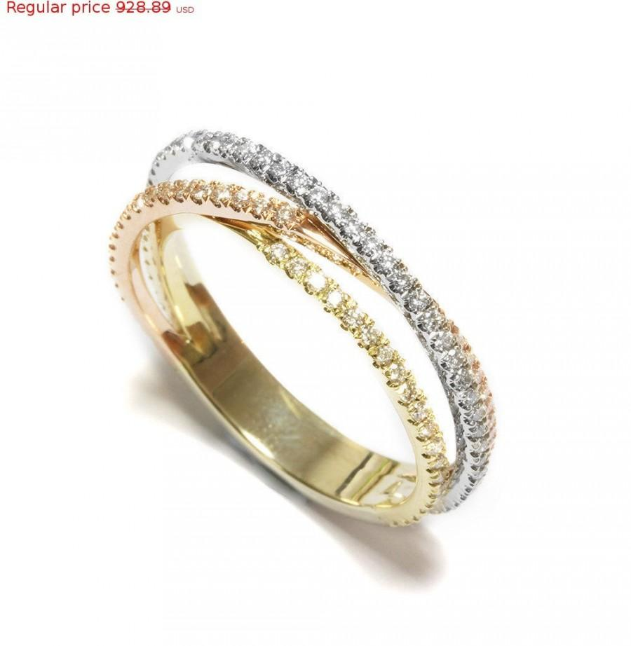Mariage - Valentines SALE! Tricolor Unique Diamond Wedding Ring. Made from solid gold, unique handmade gold and diamond ring, unique wedding ring