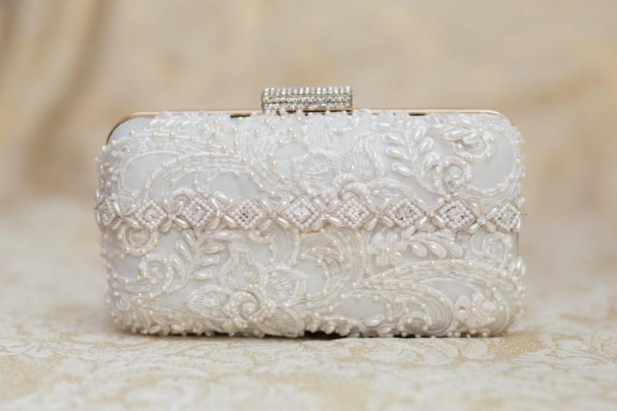 Wedding - Wedding Clutch, Bridal Purse, Bridesmaid Clutch, Vintage Inspired, Beaded Clultch, Bridal Accessories