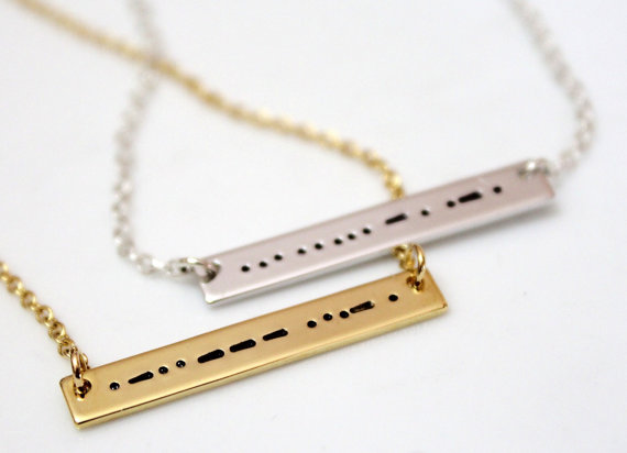 زفاف - Sister Morse Code, Morse Code Necklace, Morse Code Jewelry, Silver Bar Necklace, Sister Necklace, Bridesmaid Gift, Christmas Gift