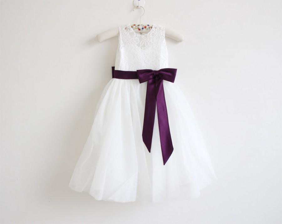 Mariage - Light Ivory Flower Girl Dress Eggplant Baby Girls Dress Lace Tulle Flower Girl Dress With Eggplant Sash/Bows Sleeveless Floor-length