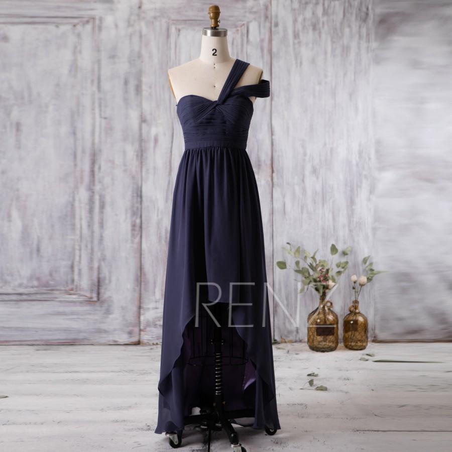 Mariage - 2016 Steel Blue Bridesmaid Dress, Chiffon High Low Wedding Dress, One Shoulder Evening gown, Prom Dress, Formal dress floor length (F347)