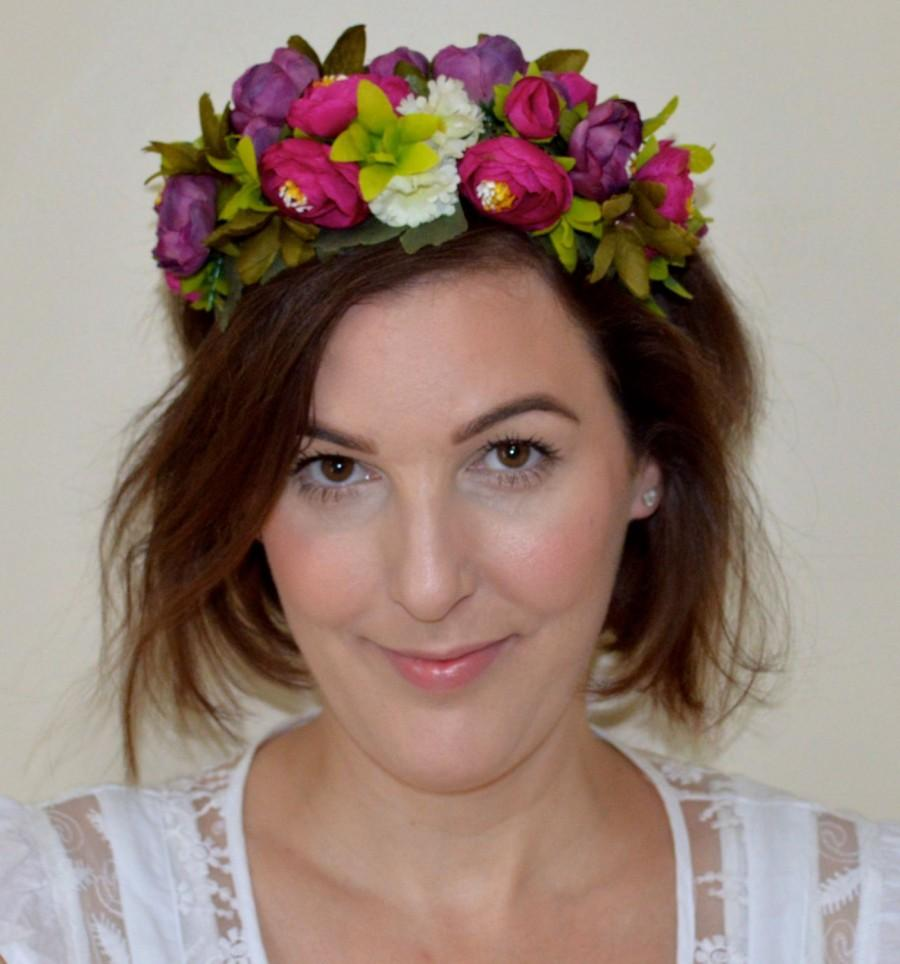 Bridal woodland flower crown wedding hair crown bridal flower bridal woodland flower crown wedding hair crown bridal flower wreath bohemian flower crown flower wreath multi color hair accessory izmirmasajfo