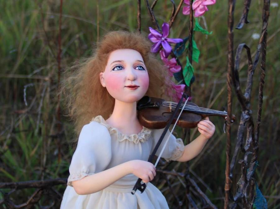 "زفاف - OOAK Art doll ""Little violinist."" Height 14.96 inches (38 cm).Doll collection."