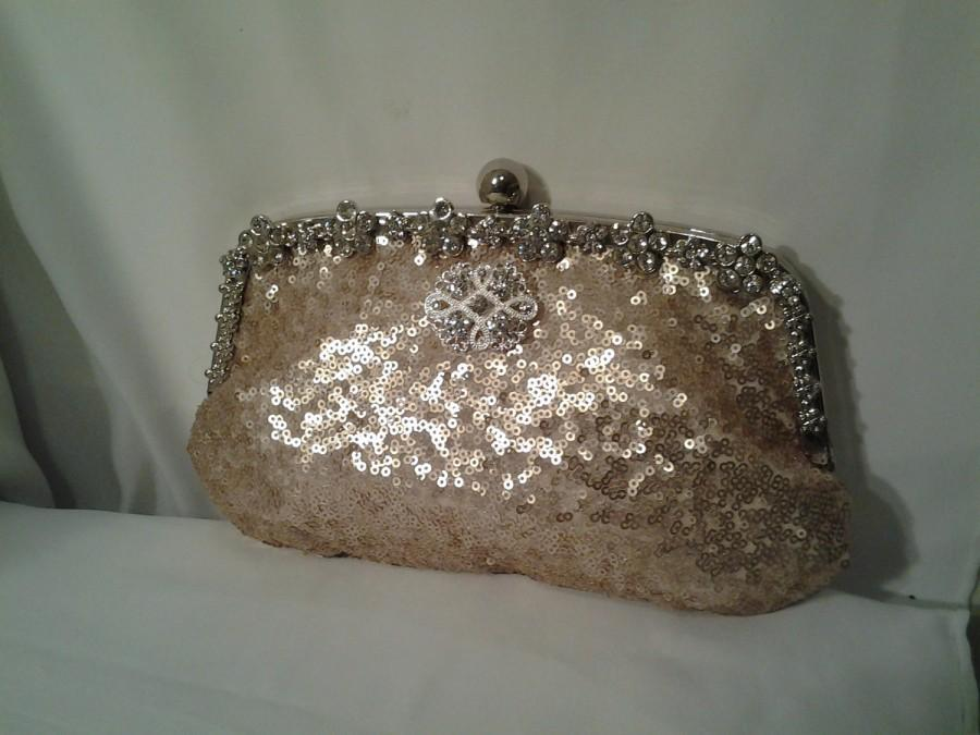 Mariage - Blush rose gold clutch sequin wedding clutch sequin new years eve holiday prom clutch BBsCustomClutches