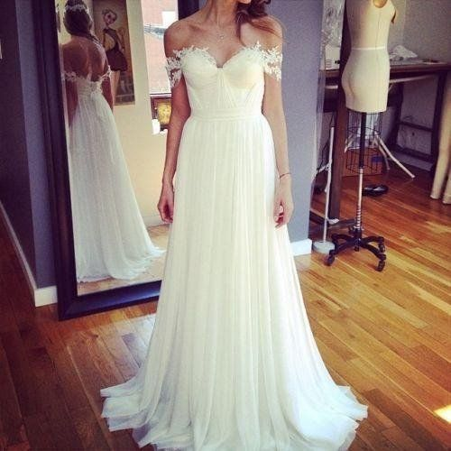 Mariage - Beach Off Shoulder Lace Appliqued Chiffon Bohemian Wedding Dresses Bridal Gowns, BG51519 - US0 / Picture Color