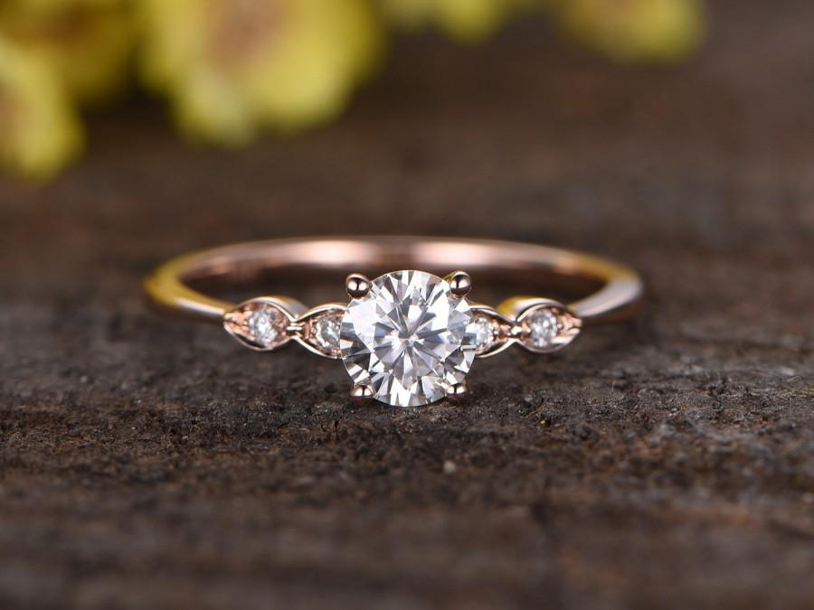 Classic Round Engagement Ring Small Side Stone
