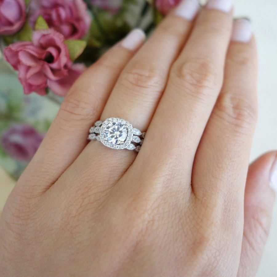 Hochzeit - 3 Band 1.25 ctw Halo Wedding Set, Vintage Style Bridal Rings, Man Made Diamond Simulant, Art Deco Ring, Engagement Rings, Sterling Silver