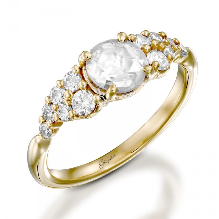 Wedding - Old Cut Vintage Engagement Ring, Antique Ring, Yellow Gold Ring, Unique Engagement Ring, Old Cut Diamond Ring, Designer ring, Original Ring