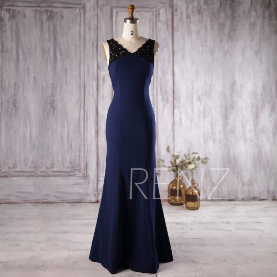 Wedding - 2016 Navy Blue Bridesmaid Dress Long, V Neck Lace Wedding Dress with Beading, Backless Evening Dress, Prom Dress Floor Length (H185)
