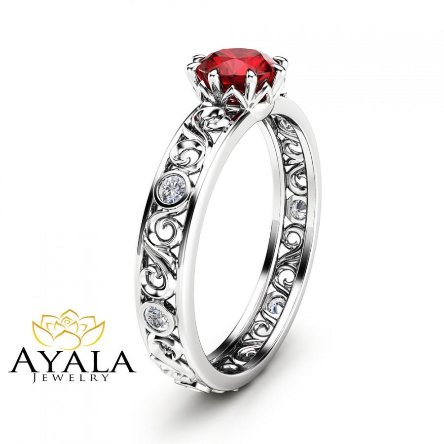 Hochzeit - 1/2 CT Natural Ruby Ring 14K White Gold Ring Ruby Engagement Ring Choose Your 1/2 CT Gemstone Ring