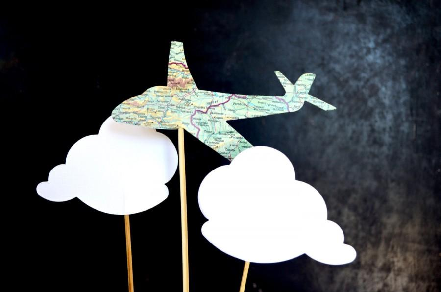 Mariage - Vintage Map Airplane and Cloud Shaped Cake Toppers