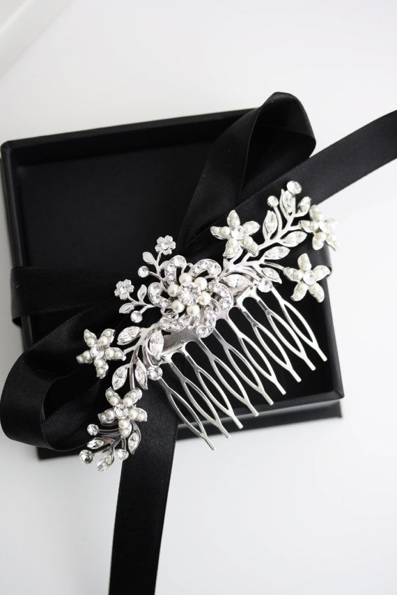 Mariage - Wedding Hair Comb Swarovski Rhinestone Pearl Bridal Hair Comb Vintage Wedding Comb Ivory Pearl Flower Headpiece SABINE 2 HAIR PIECE