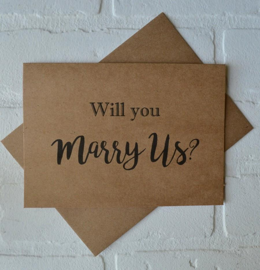 Wedding - WILL you MARRY us priest deacon card marry us card will you be our officiant kraft card wedding card officiant cards marrying us