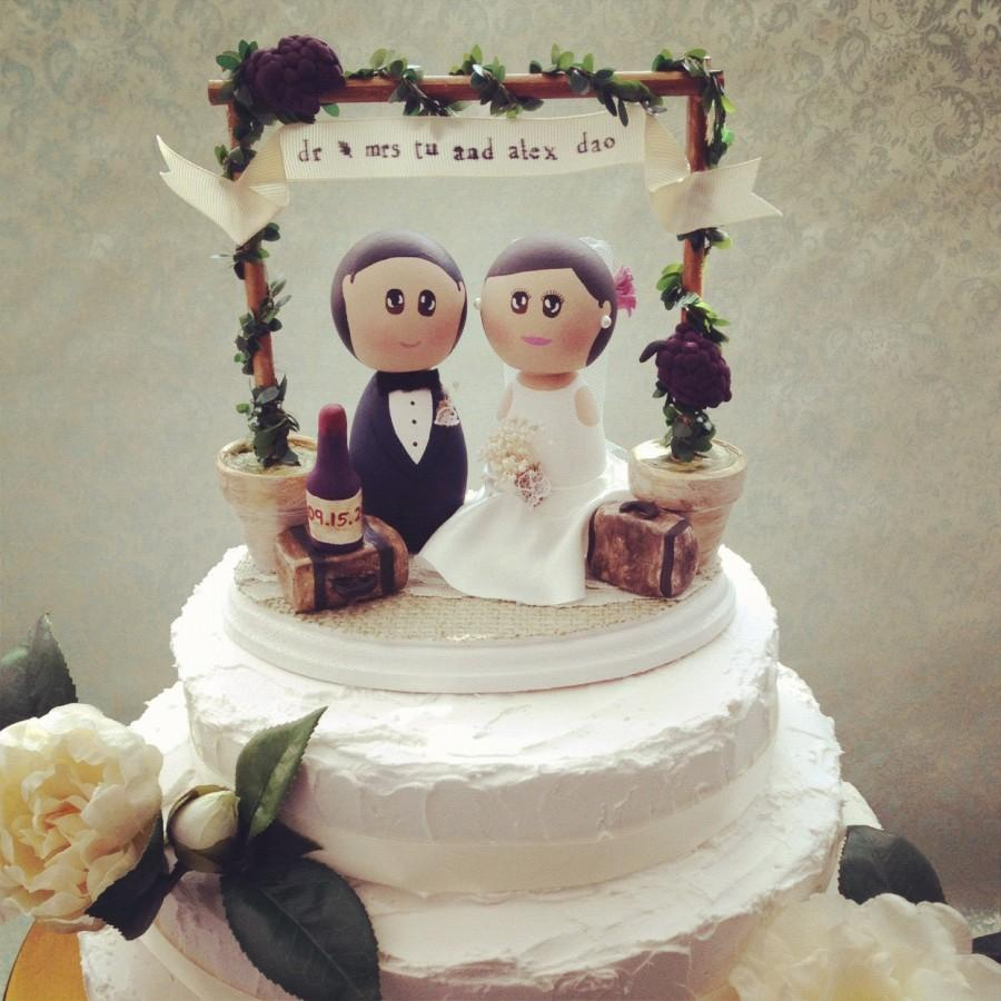Wedding - Custom Rustic Vintage Winery Wedding Cake Topper Base with Bride and Groom Toppers