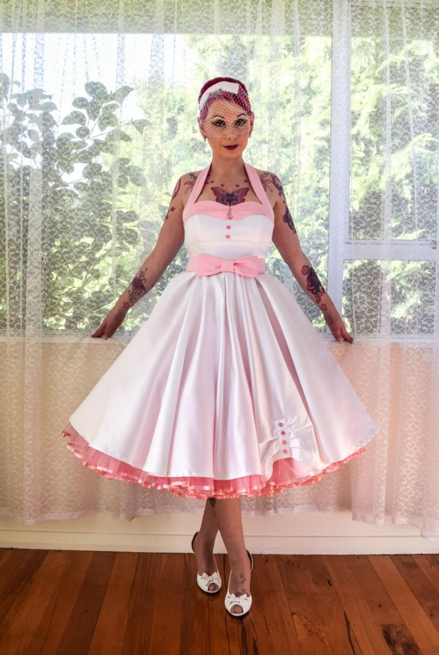 Hochzeit - 1950's Rockabilly 'Ruby' Wedding Dress with Lapels, Sash, Full Circle Tea Length Skirt and Petticoat - Custom Made to Fit