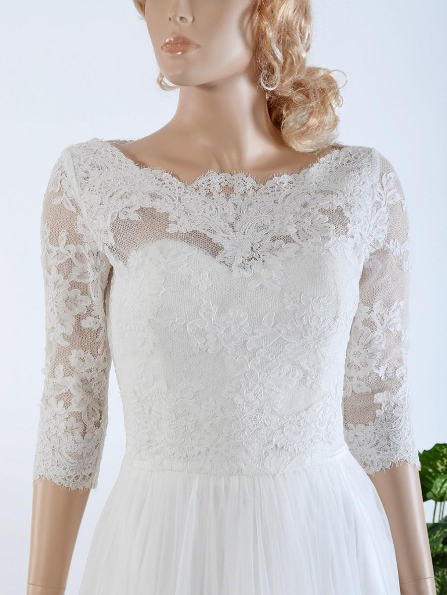 V neck ivory alencon lace bolero jacket bridal bolero for Wedding dress lace bolero