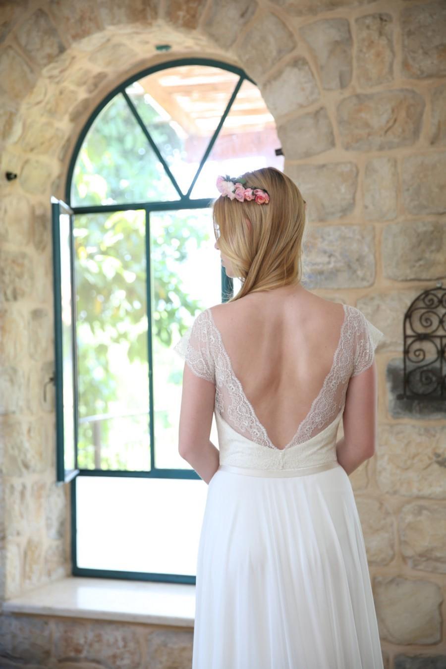 Mariage - Valery ON SALE - Boho wedding dress, lace wedding dress, beach wedding dress, wedding dress with sleeves