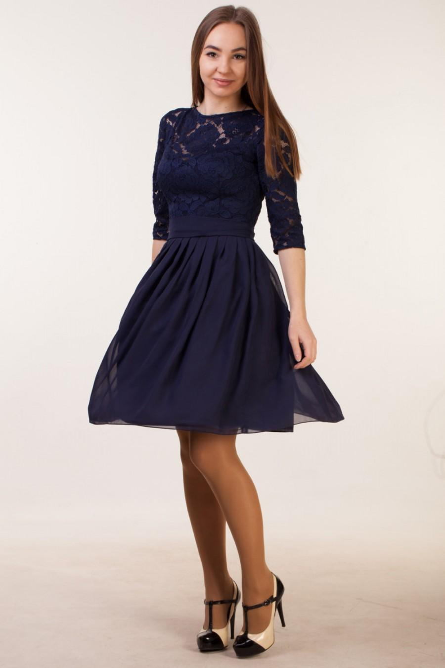 d6237843f620 Short navy blue dress with sleeves Navy blue bridesmaid dress with sleeves Navy  blue cocktail dress Navy party dress Navy blue lace dress