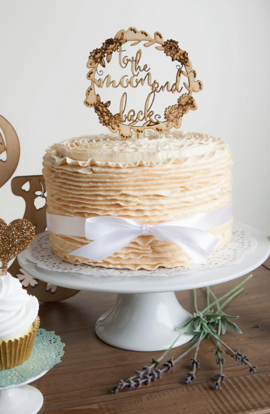 Свадьба - To The Moon and Back Rustic Floral Engraved Wood Wedding Cake Topper