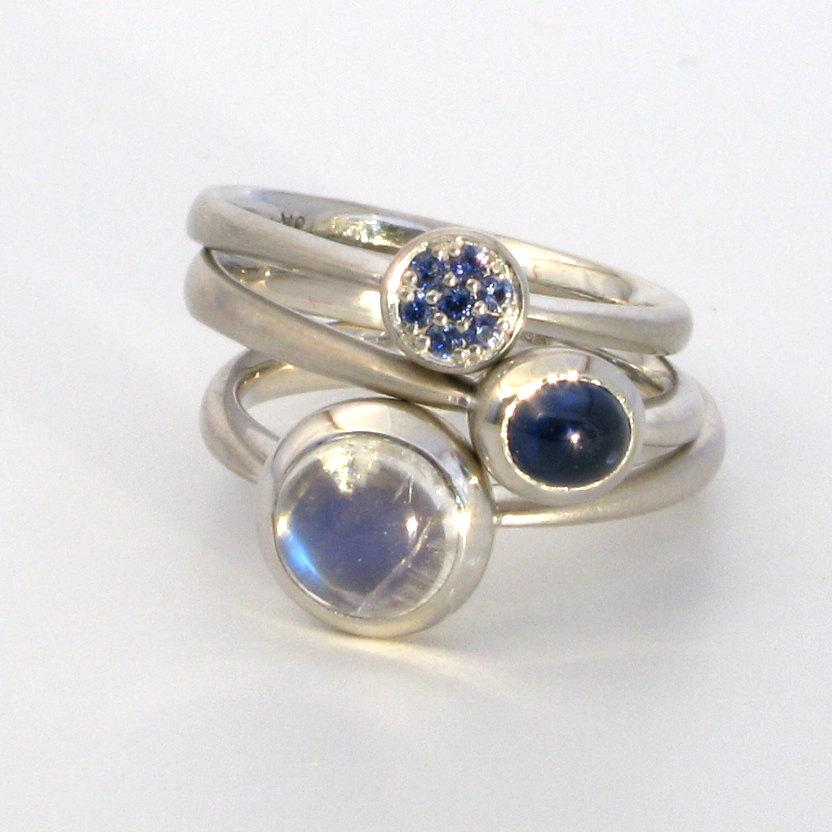 Wedding - STAX 18k white gold stacking and wedding rings with sapphire, moonstone, sapphire pavé, one-of-a-kind
