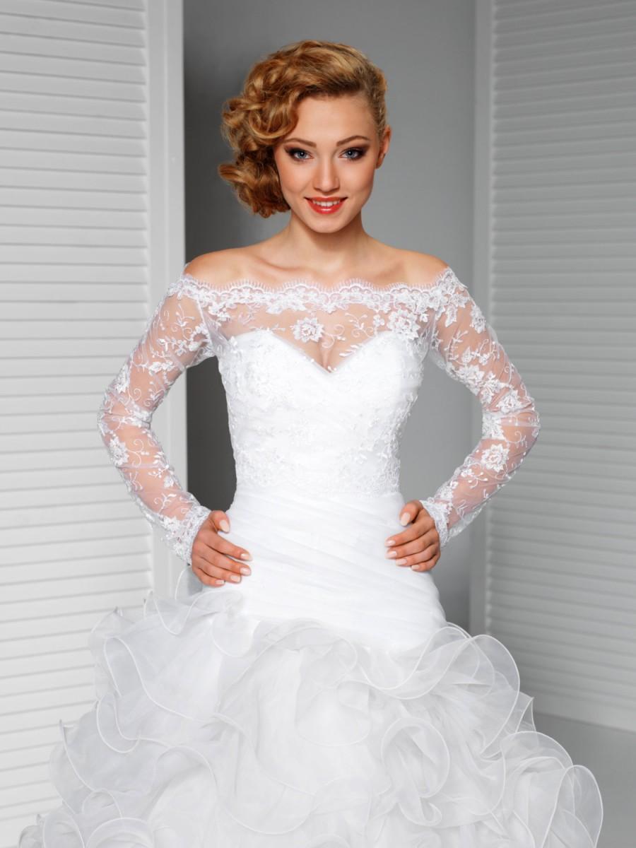 Off-Shoulder Alencon Lace Bolero Jacket Bridal Bolero Bridal Lace ...