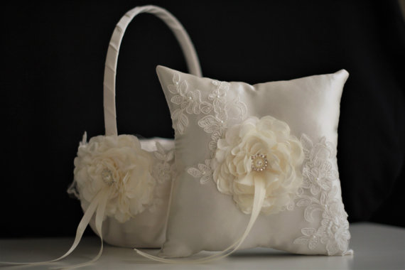 Wedding - Flower girl Basket / Wedding Ring Bearer Pillow Set Ivory Lace   Ivory Guest Book   Unity Candles & Champagne Glasses   Cake Serving Set