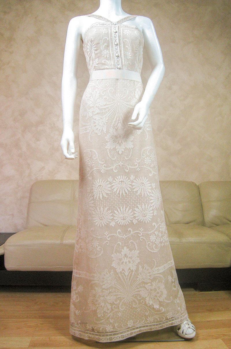 Mariage - Cream lace wedding dress with a train, bridal dress made from original Nottingham lace, boho wedding dress, beach lace wedding dress