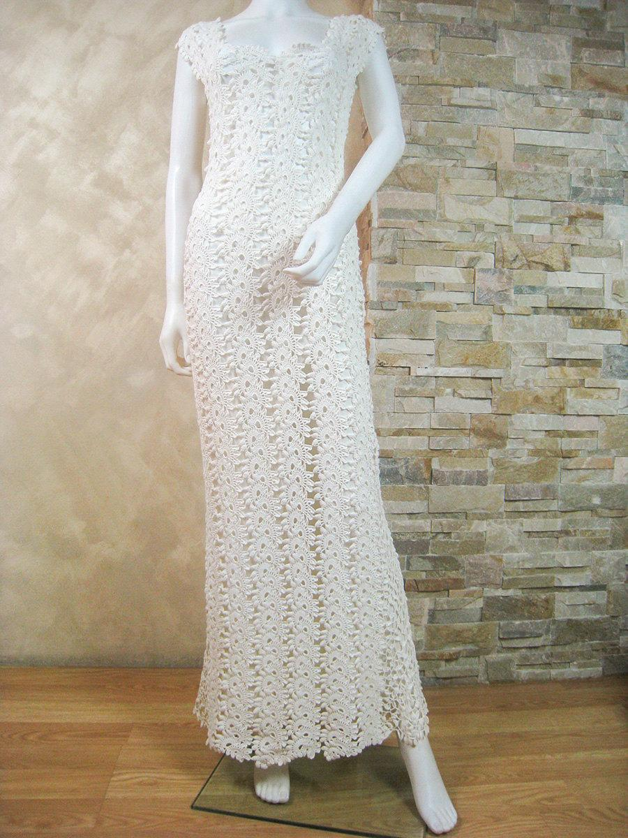 Exclusive Ivory Crochet Lace Wedding Dress, Lace Bridal Dress ...