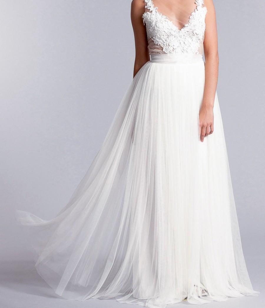 ab9d1ce6f8 Bridal skirt long tulle skirt soft tulle skirt long bridal skirt in white  or ivory jpg