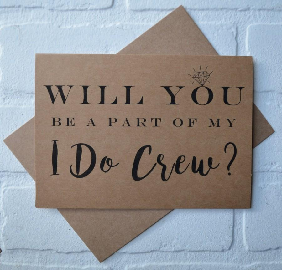 Wedding - I DO CREW will you be my BRIDESMAID card bridal cards bridesmaid cards kraft wedding be my bridesmaid card funny bridal crew cards wedding