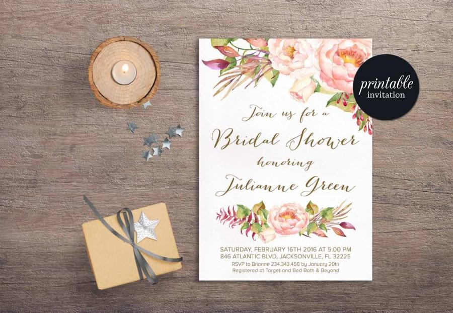 Wedding - Floral Bridal Shower Invitation, Boho Bridal Shower Invitation, Bohemian Bridal Shower Invitation Blush Pink Bridal Shower Invitation Peony