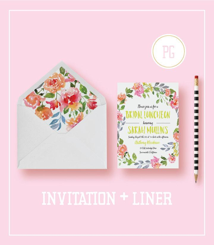 زفاف - Printable or Printed Bridal Luncheon Invitations  - Watercolor Bridal Luncheon - Bridal Luncheon Invites