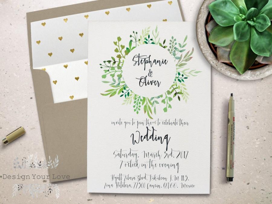 Wedding - printable green wedding invitation printable garden wedding invite leafy greenery wreath watercolor greens calligrapgy wedding invitation