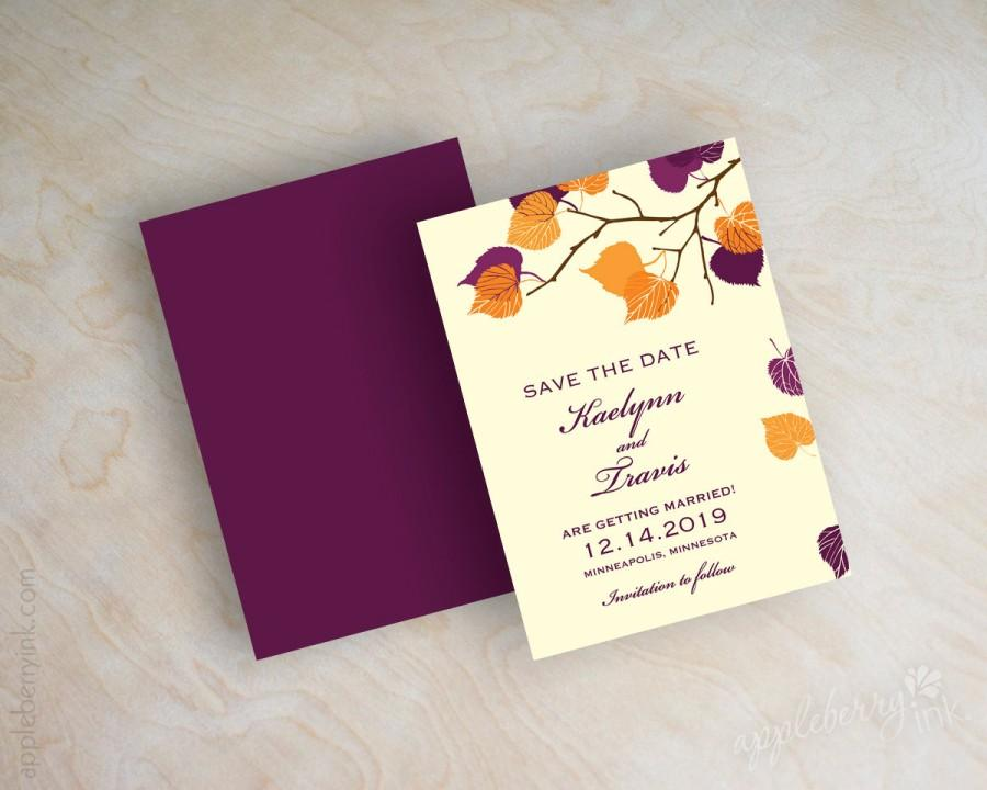 Wedding - Orange and purple leaf save the dates, fall, autumn save the date magnet, branch save the date postcard, outdoor leaves, eggplant, Serena