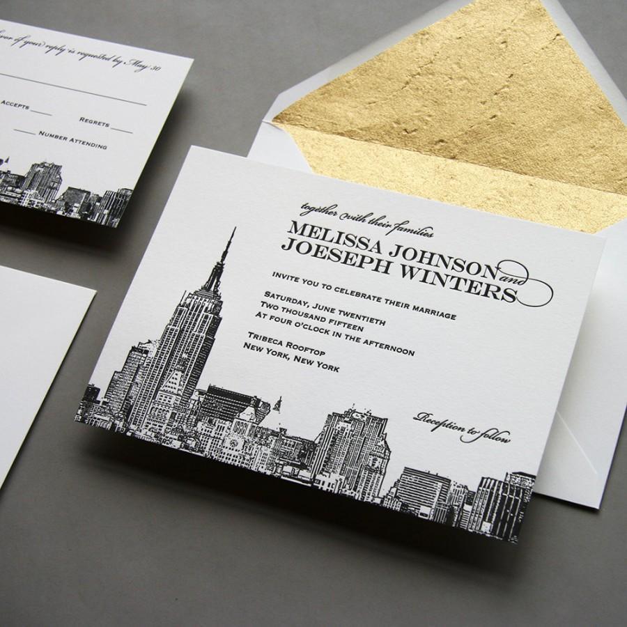 Mariage - Letterpress Wedding Invitation Set - New York City Skyline