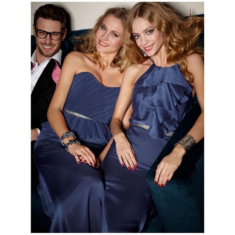 Hochzeit - Bescheidene blau leuchtende Chiffon a-line Brautjungfer Kleid 2012 mit plissierten Mieder - Festliche Kleider